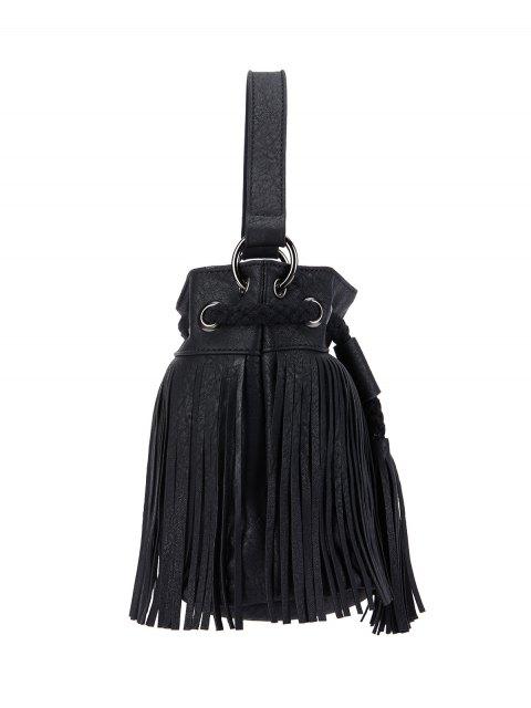 trendy Fringe Drwstring Bucket Bag - BLACK  Mobile