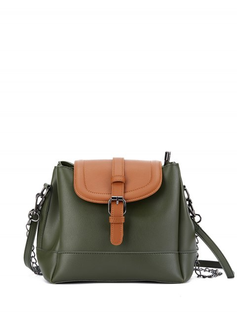 outfit Buckle Strap Color Block Bucket Bag - ARMY GREEN  Mobile