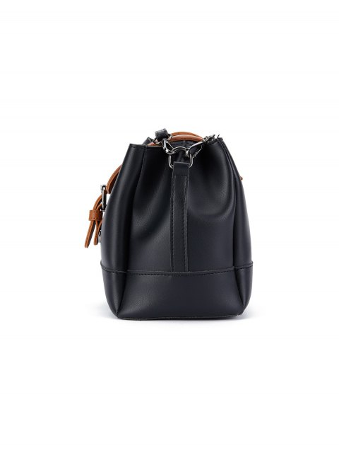 outfits Buckle Strap Color Block Bucket Bag - BLACK  Mobile