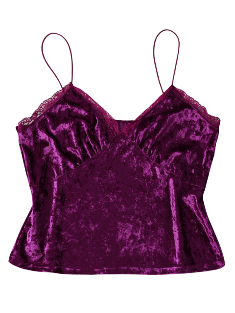womens Sweatheart Velvet Cami Top - DEEP PURPLE S Mobile