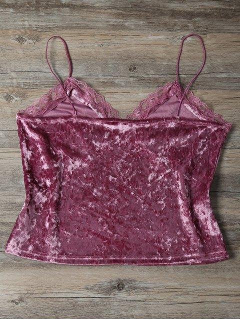 women Sweatheart Velvet Cami Top - DEEP PINK L Mobile
