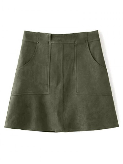 fashion A Line Front Pockets Suede Skirt - OLIVE GREEN L Mobile