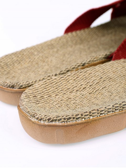 women's Linen Color Block Cross Straps Slippers - DEEP RED SIZE(39-40) Mobile