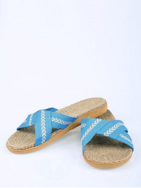 ladies Linen Color Block Cross Straps Slippers - AZURE SIZE(37-38) Mobile