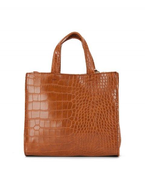 chic Crocodile Pattern Tassel Tote - BROWN  Mobile