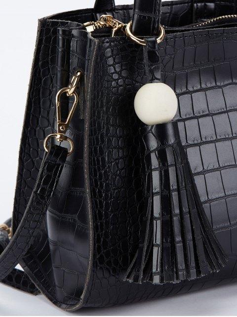 unique Crocodile Pattern Tassel Tote - BLACK  Mobile