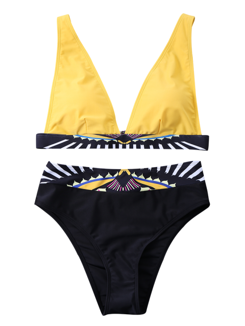 latest Geometric Panel Bikini Set - YELLOW M Mobile