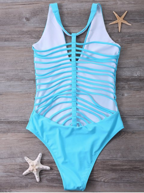 buy Strappy One-Piece Swimwear - BLUE M Mobile