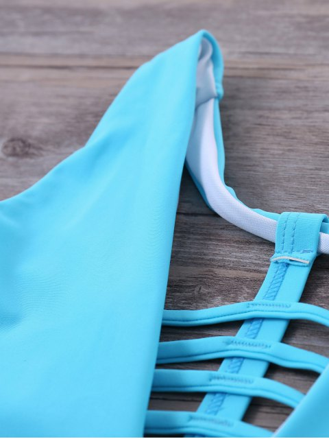 affordable Strappy One-Piece Swimwear - BLUE L Mobile