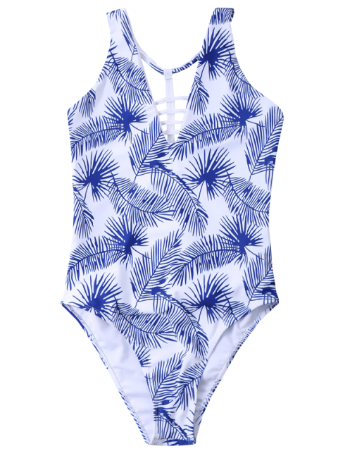 ladies Strappy Printed One-Piece Swimwear - WHITE S Mobile