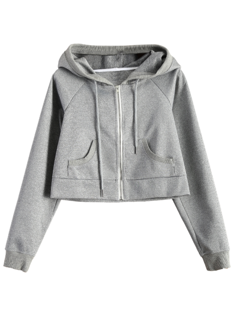 sale Hooded Cropped Jacket - GRAY M Mobile