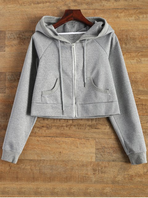 affordable Hooded Cropped Jacket - GRAY S Mobile