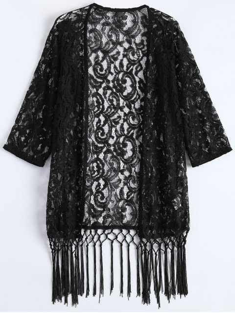 ladies Fringe Lace Kimono Cover Up - BLACK XL Mobile