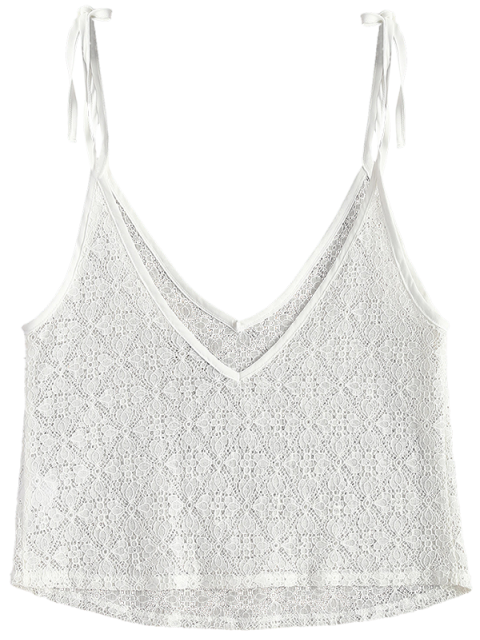 womens V Neck Sheer Lace Cami Top - WHITE M Mobile