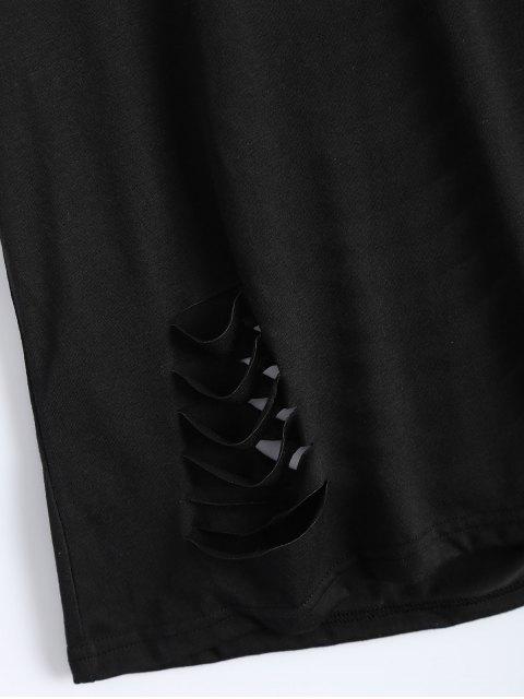 best Short Sleeve Distressed Hole Tee - BLACK L Mobile