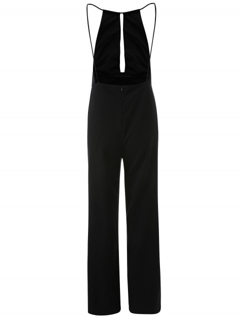 buy Plunge Keyhole Wide Leg Palazzo Jumpsuit - BLACK XL Mobile