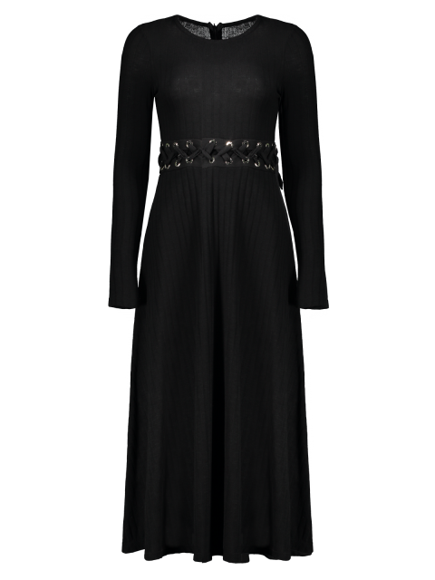 lady Ribbed A Line Midi Sweater Dress - BLACK S Mobile
