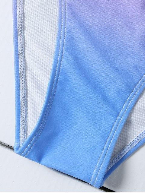 trendy Ombre Color Shell Bikini - BLUE + PURPLE L Mobile