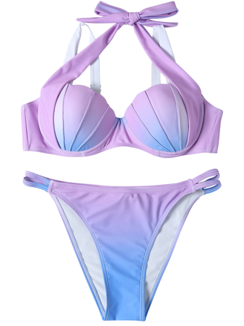 women Ombre Color Mermaid Shell Halter Bikini - BLUE + PURPLE L Mobile