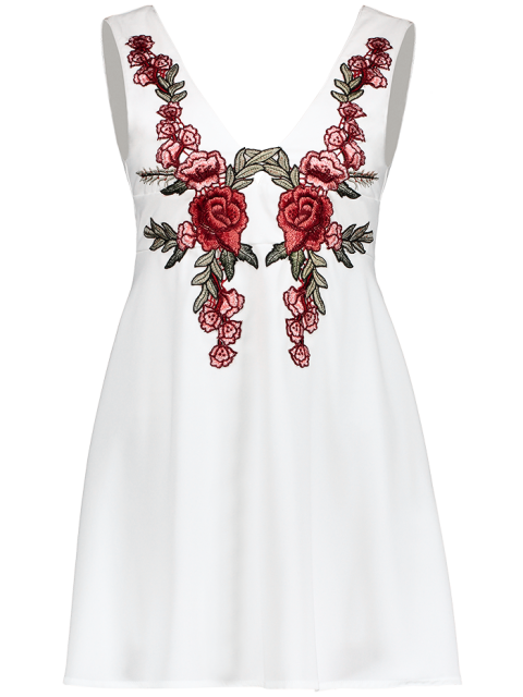 outfits Floral Plunging Neck Mini Dress - WHITE S Mobile