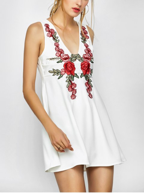 outfit Floral Plunging Neck Mini Dress - WHITE M Mobile