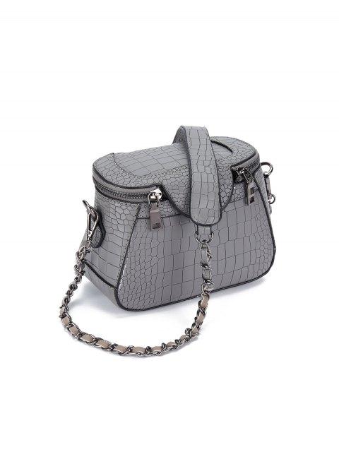 shop Chains Crocodile Pattern Cross Body Bag - GRAY  Mobile