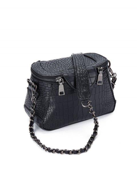 latest Chains Crocodile Pattern Cross Body Bag - BLACK  Mobile