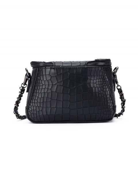 latest Chains Crocodile Pattern Cross Body Bag - BLACK  Mobile