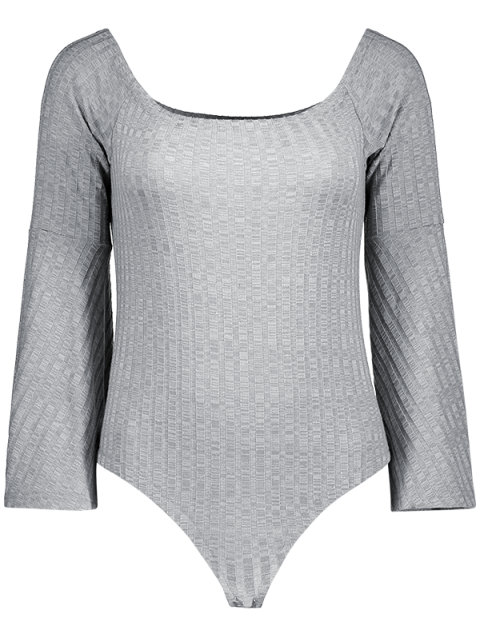 latest Off The Shoulder Flare Sleeve Bodysuit - GRAY XL Mobile