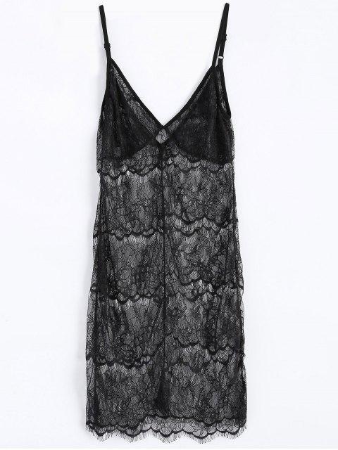 affordable Sheer Lace Slip Babydoll Dress Lingeries - BLACK 2XL Mobile