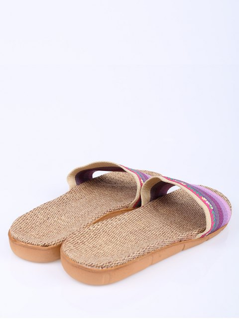 best Flowers Ombre Striped House Slippers - PURPLE SIZE(37-38) Mobile