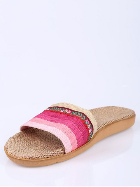 hot Flowers Ombre Striped House Slippers - PINK SIZE(39-40) Mobile