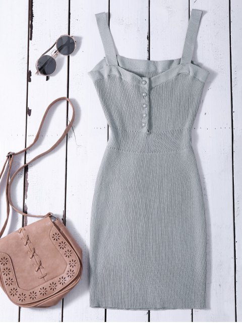 outfits Wide Strap Bodycon Sweater Dress - GRAY ONE SIZE Mobile