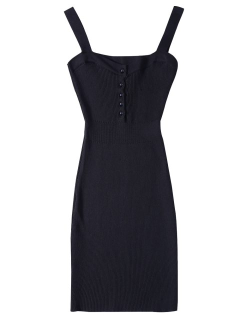 outfit Wide Strap Bodycon Sweater Dress - BLACK ONE SIZE Mobile