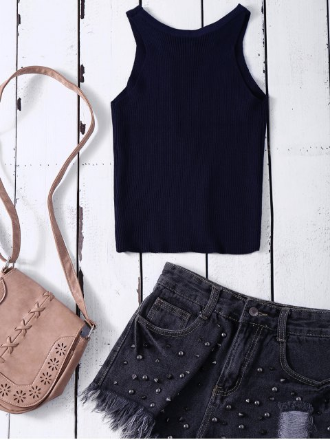 fancy Cropped Lace Up Sweater Tank Top - PURPLISH BLUE ONE SIZE Mobile