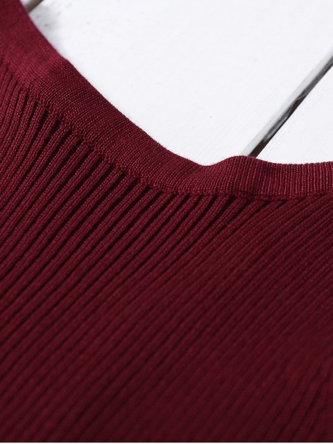 trendy Cropped Lace Up Sweater Tank Top - WINE RED ONE SIZE Mobile