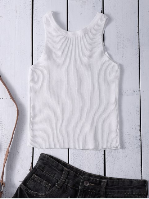 latest Cropped Lace Up Sweater Tank Top - WHITE ONE SIZE Mobile