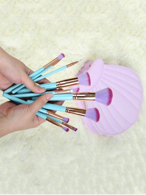 ladies 10 Pcs Scallop Makeup Brushes Kit -   Mobile