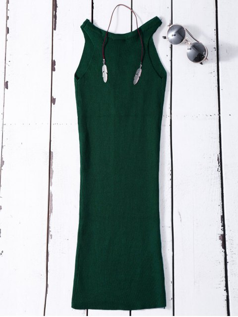 unique Sleeveless Ribbed Knit Bodycon Dress - GREEN ONE SIZE Mobile