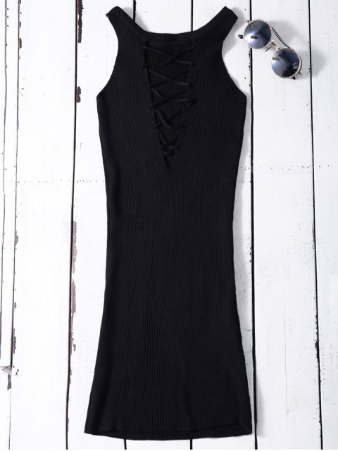 latest Sleeveless Ribbed Knit Bodycon Dress - BLACK ONE SIZE Mobile