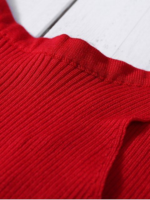 fashion Sleeveless Ribbed Knit Bodycon Dress - RED ONE SIZE Mobile