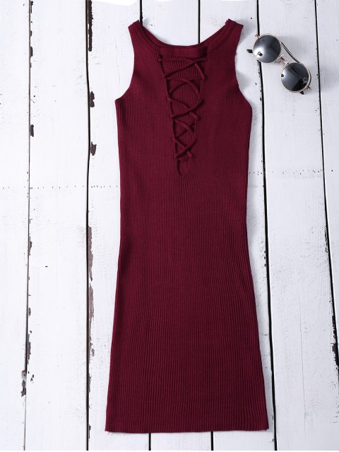 fancy Sleeveless Ribbed Knit Bodycon Dress - WINE RED ONE SIZE Mobile