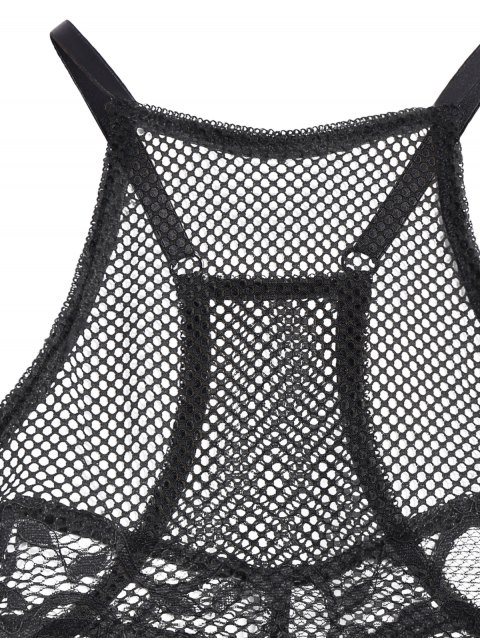 fancy Mesh Y Back Lace Bra - BLACK M Mobile