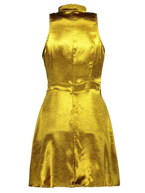 unique Mini Metallic Satin Choker Dress - GOLDEN M Mobile