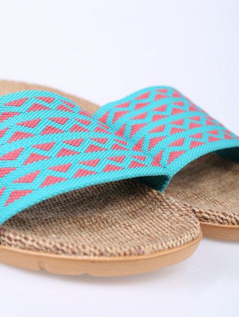shop Geometric Pattern Linen Color Block House Slippers - LAKE BLUE SIZE(37-38) Mobile