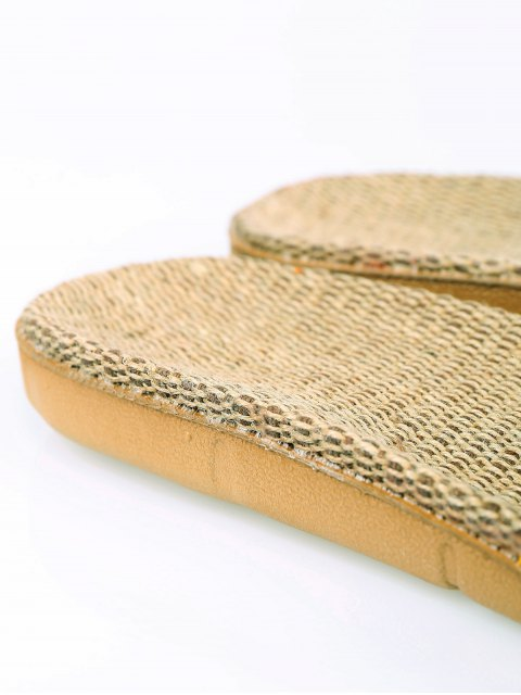 latest Geometric Pattern Linen Color Block House Slippers - YELLOW SIZE(37-38) Mobile