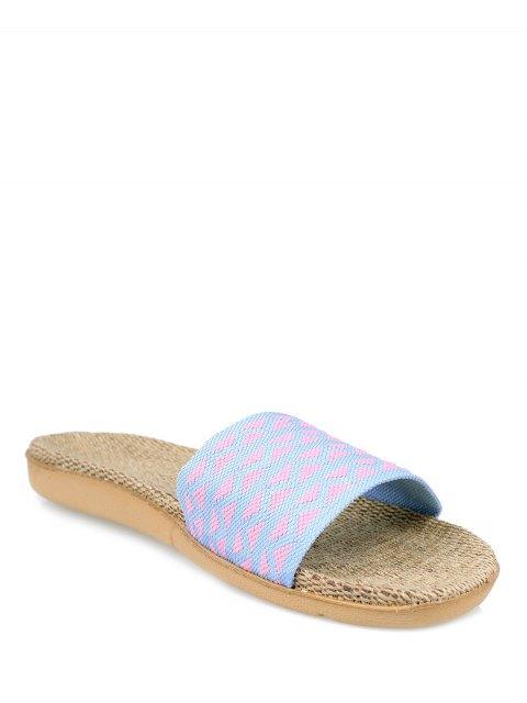 fashion Geometric Pattern Linen Color Block House Slippers - LIGHT PURPLE SIZE(37-38) Mobile