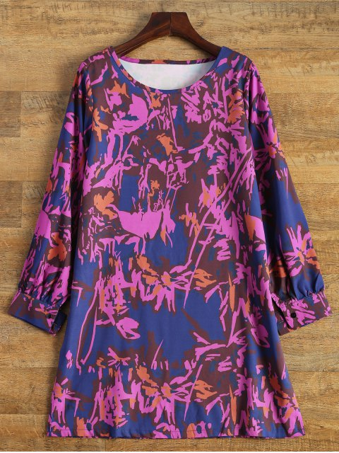 fancy Printed Long Sleeve Tunic Dress - SANGRIA XL Mobile