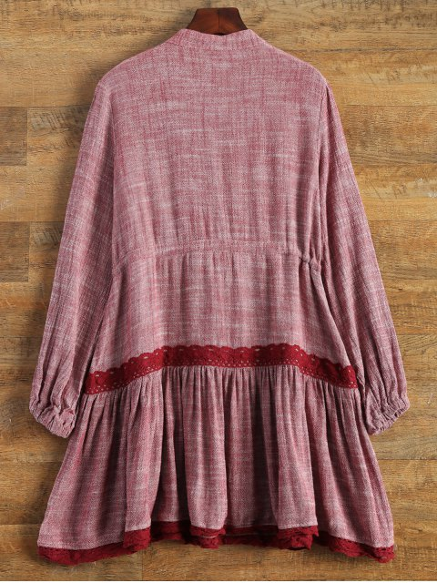 shop Long Sleeve Lace Bib Smock Dress - WINE RED L Mobile