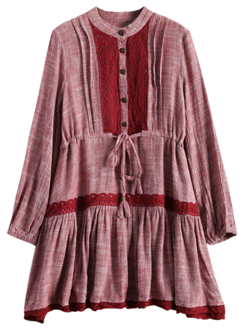 outfit Long Sleeve Lace Bib Smock Dress - WINE RED S Mobile
